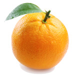 ripe orange with leaves on white background